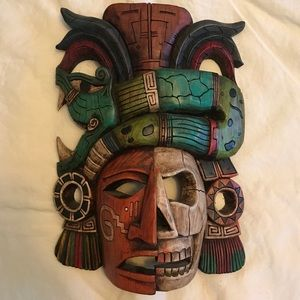 Hand carved and painted Aztec Wood mask